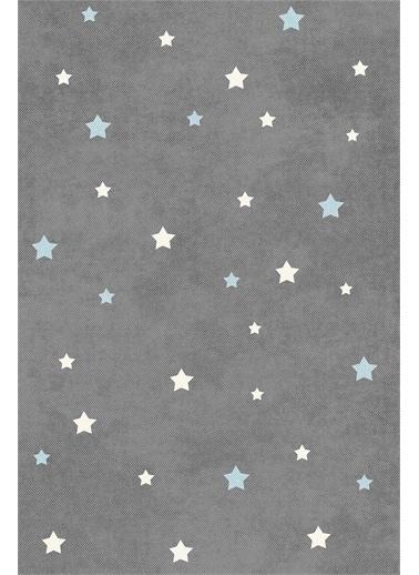 Frenda Frenda Home Yıldız Kaymaz Deri Taban Dekoratif Halı Mavi